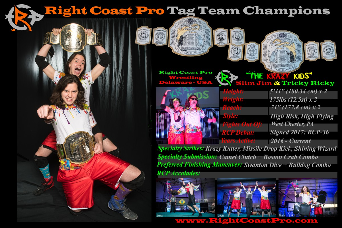 Feb tagteam champion RightCoastPro Wrestling Delaware