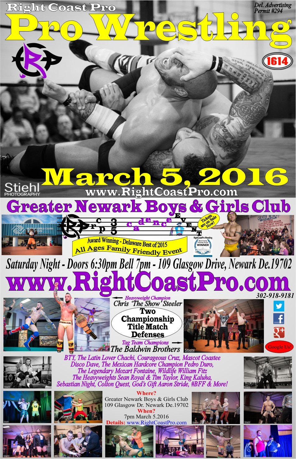 Poster RCP28 RightCoastPro Wrestling Delaware Event