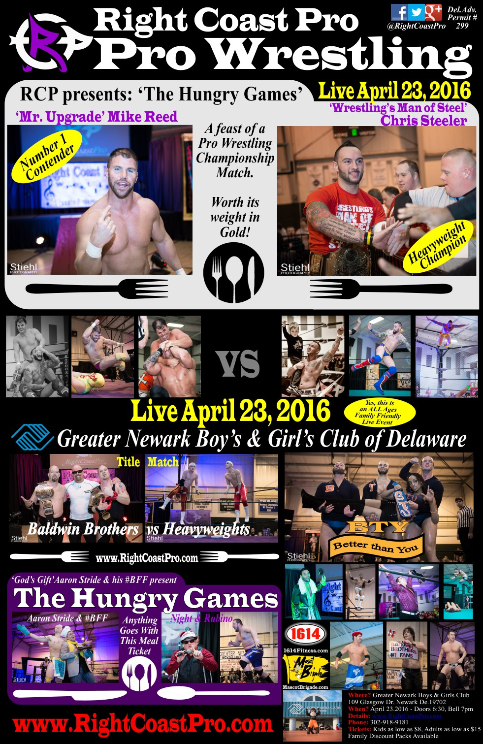 HungryGames Poster RCP29 RightCoastPro Wrestling Delaware