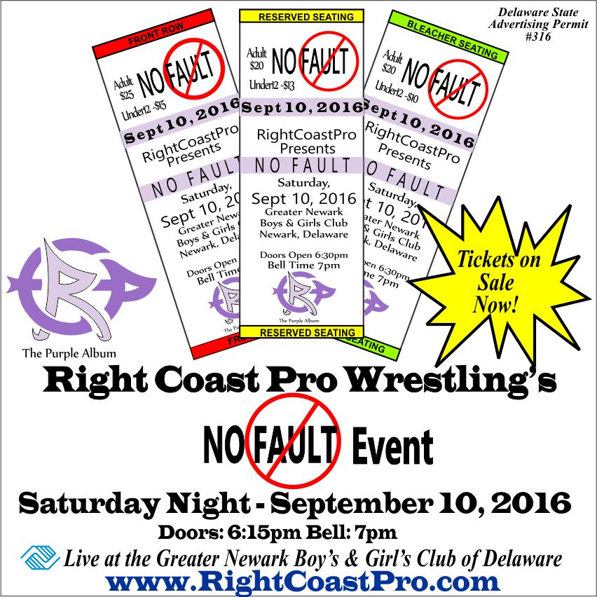 Tickets NoFault RCP31 RightCoast ProWrestling Delaware