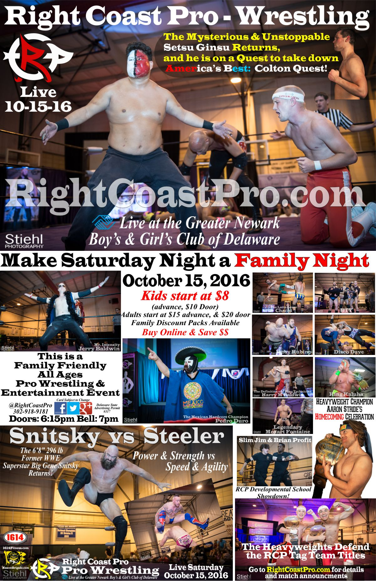 Poster RCP32 homecoming RightCoast ProWrestling Delaware