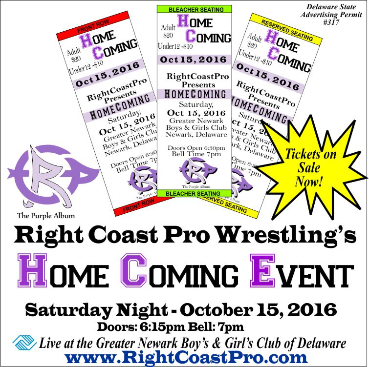 Generic tickets RCP32 homecoming RightCoast ProWrestling Delaware