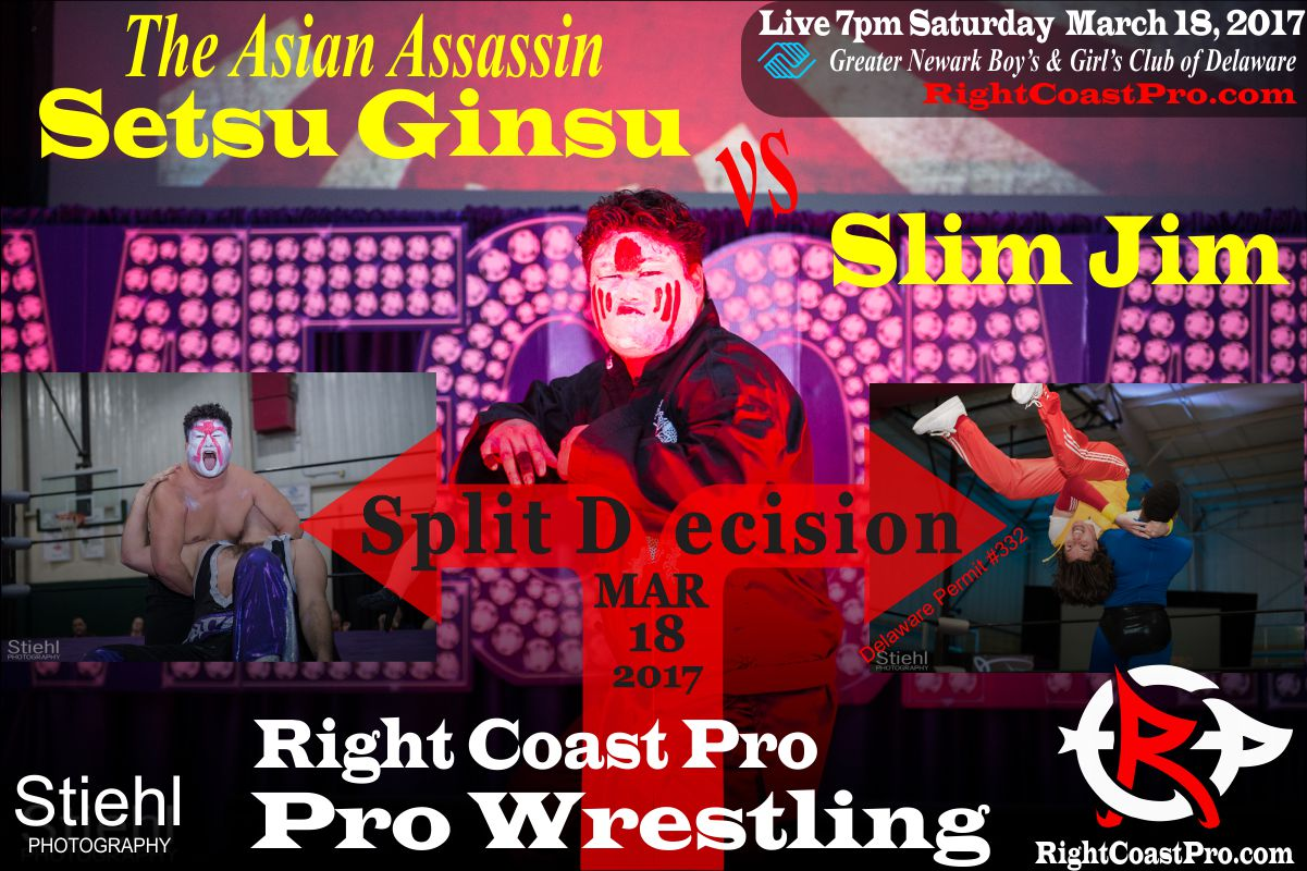 AsianAssassin vs SlimJim split decision RightCoast ProWrestling Delaware