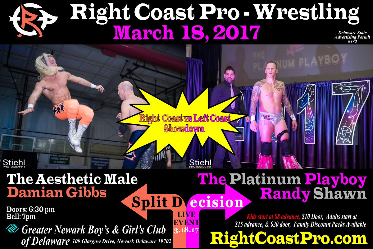 Gibss Randy split decision RightCoast ProWrestling Delaware