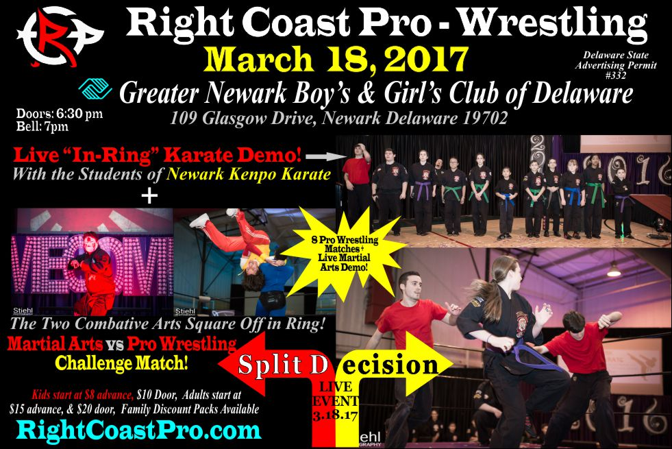 Newark Kenpo Karate Demo RCP35 3 split decision RightCoast ProWrestling Delaware
