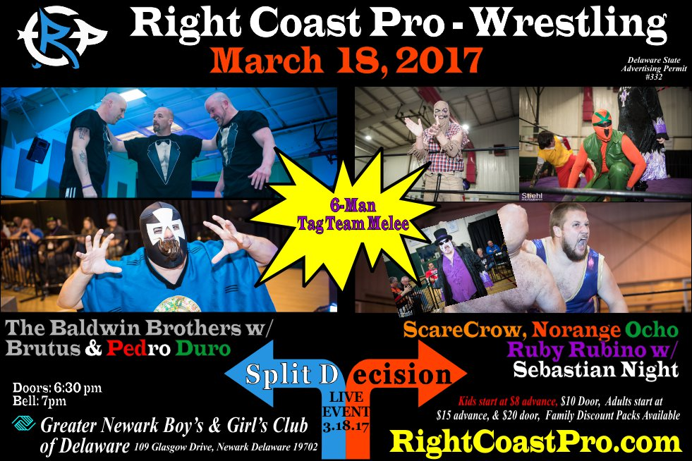 RCP35 6 man tag split decision RightCoast ProWrestling Delaware