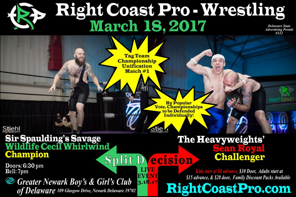 RCP35 TagTitle 1 split decision RightCoast ProWrestling Delaware