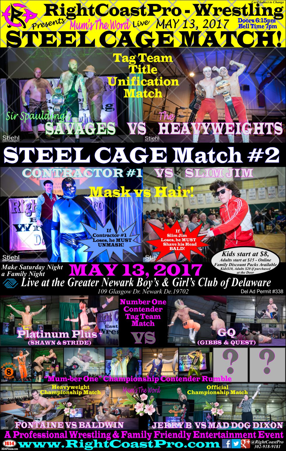 WEB POSTER RCP36 RightCoastProWrestling Delaware Entertainment Event
