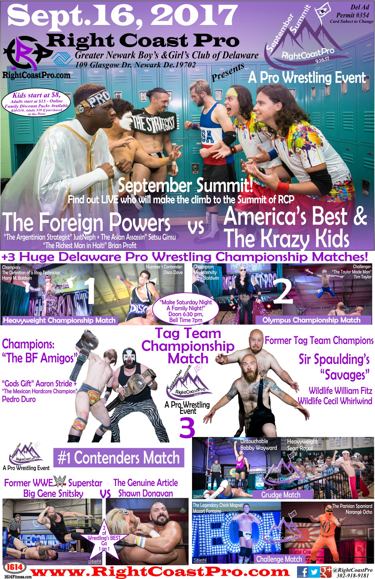 POSTER 1200 SeptemberSummit RightCoastPro Wrestling Delaware