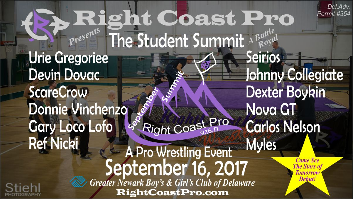 Student Summit Names RightCoastPro Wrestling Delaware