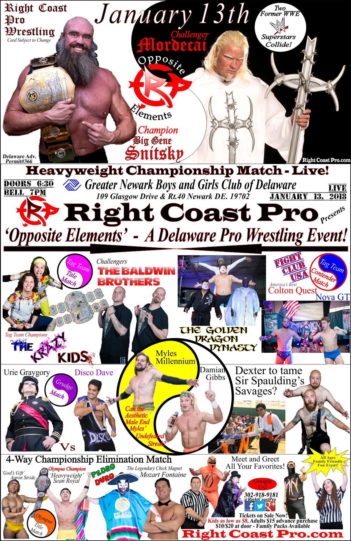 Poster2 Web OppositeElements RCP42 RightCoast Pro Wrestling Delaware