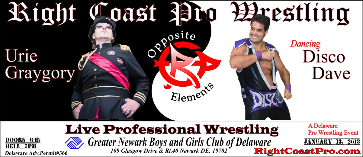 Urie Disco 1200 OppositeElements RCP42 RightCoast Pro Wrestling Delaware
