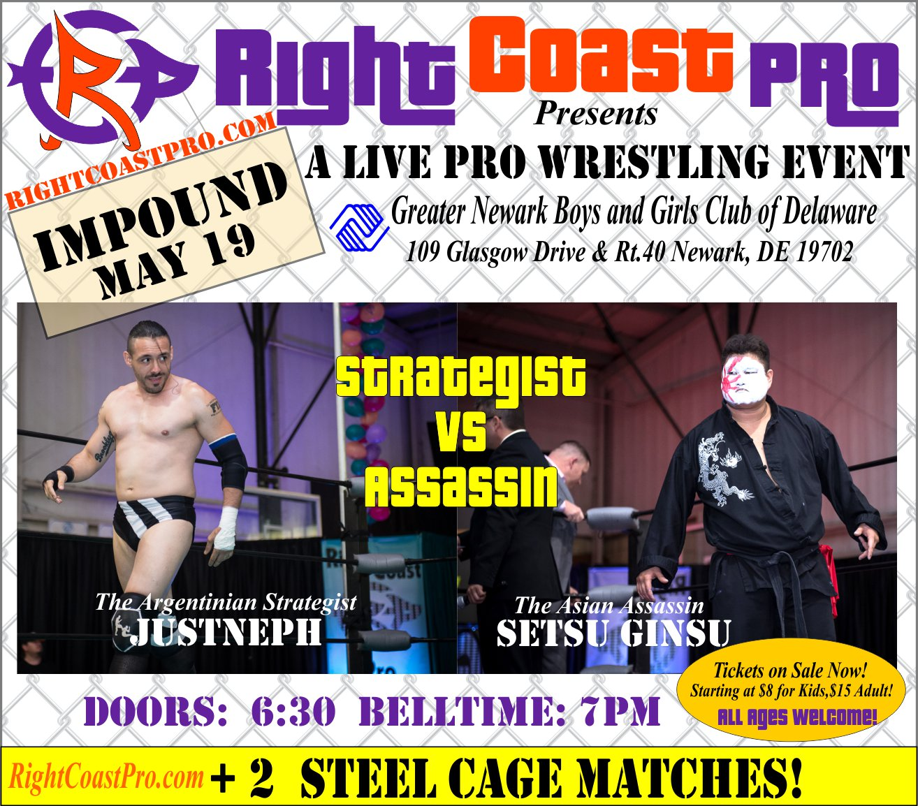 RCP45 Right Coast Pro Wrestling Delaware Event StrategistVSAssassin