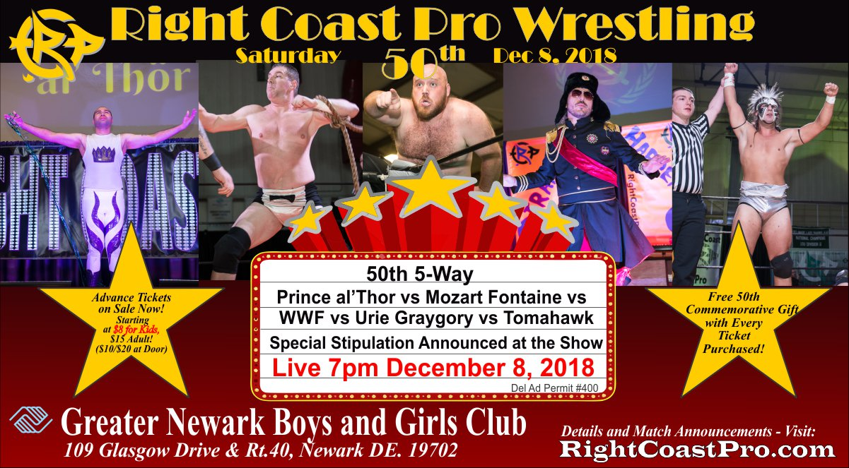 5 Way MatchGraphics RCP50 Poster RightCoastProWrestlingDelaware