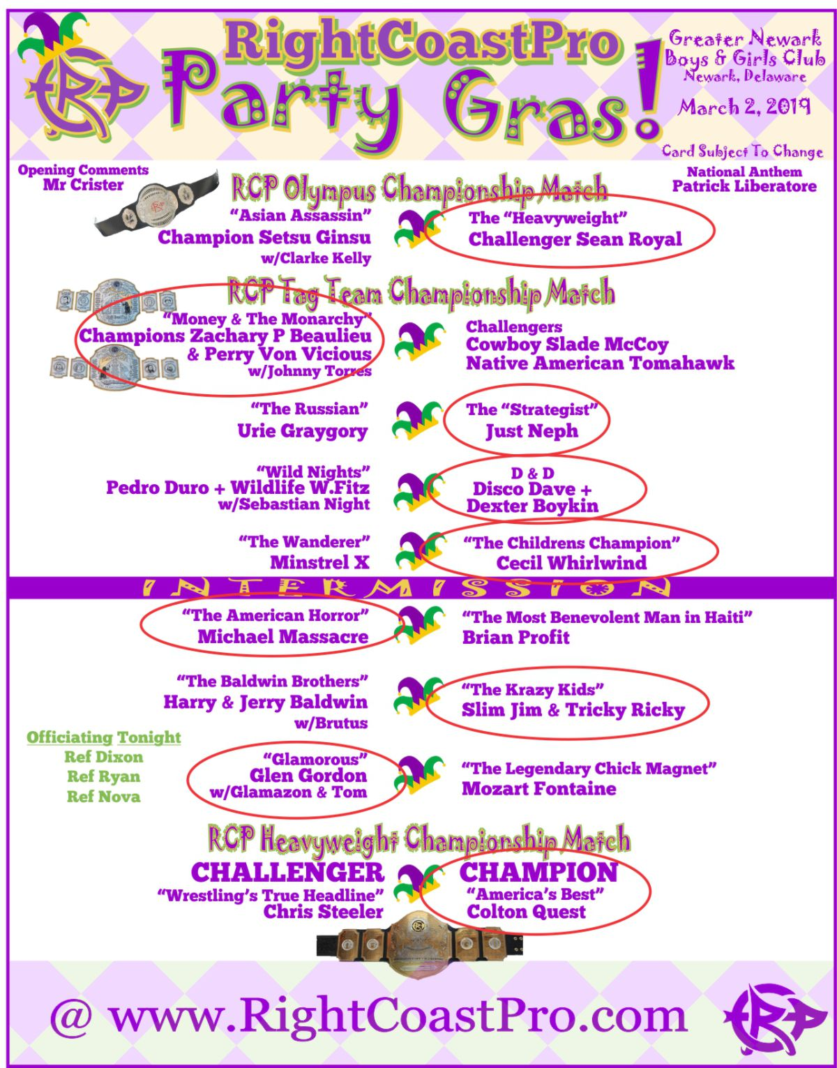 RCP52 2PartyGras Card Results RightCoastPro