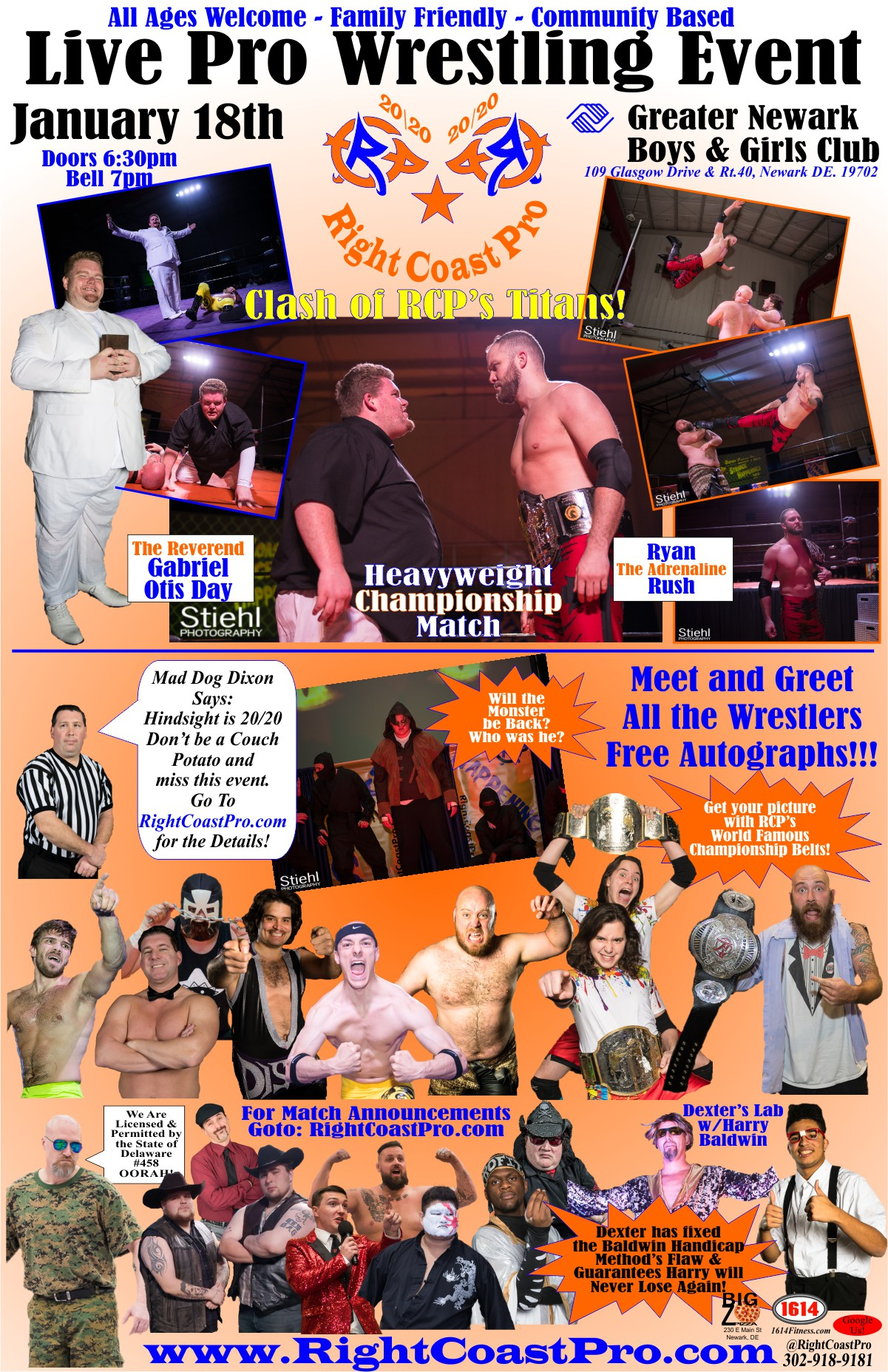 RCP60 WebPoster 1200 RightCoast Pro Wrestling Delaware