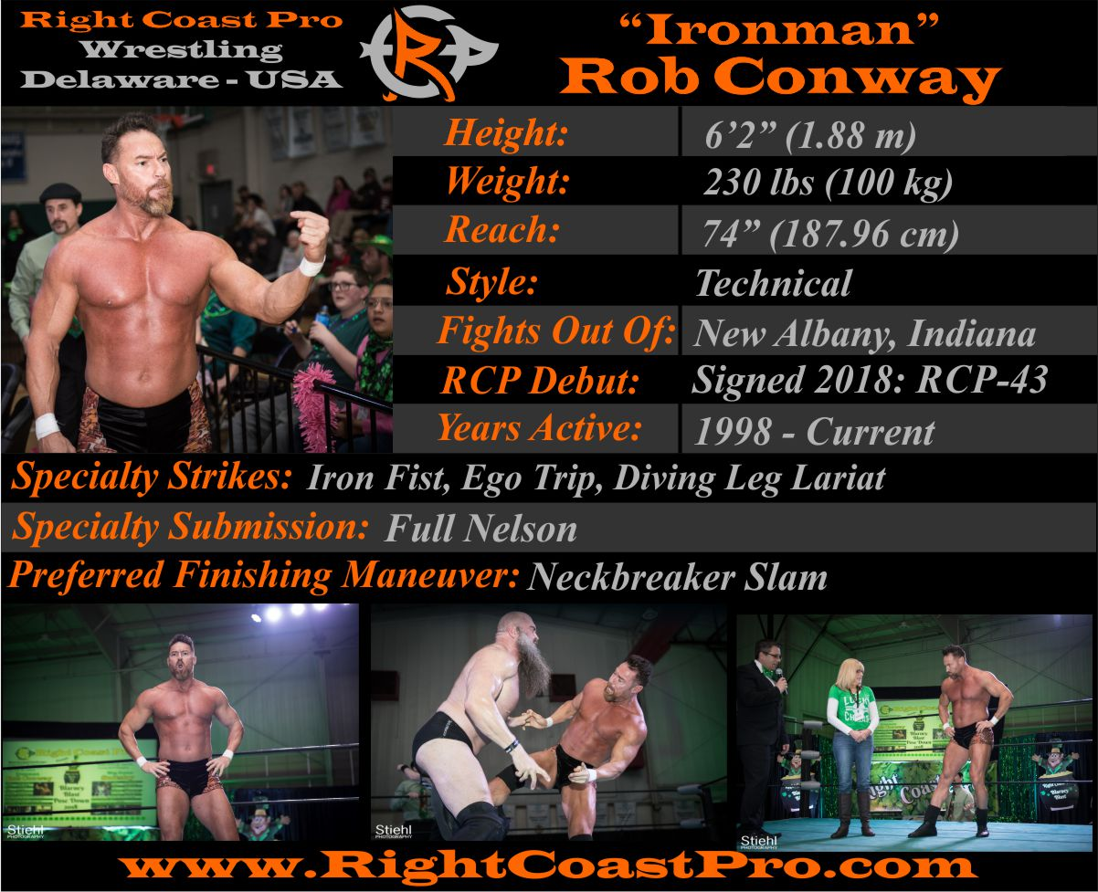 Rob Conway Roster Profiles RightCoastPro Wrestling Delaware