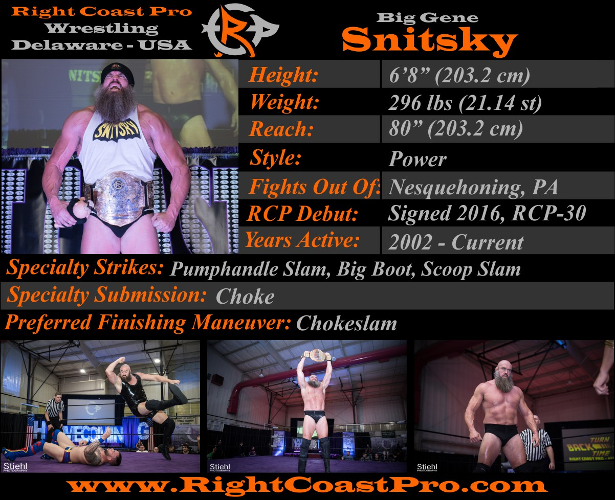 Snitsky 2018 Roster Profiles RightCoastPro Wrestling Delaware