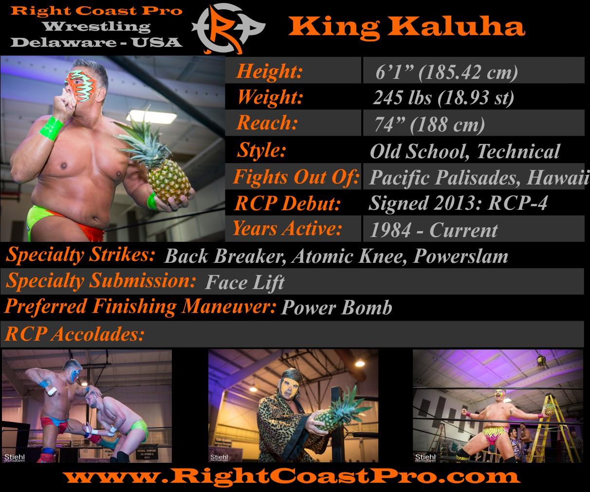 King Kaluha profile RightCoastPro Wrestling Delaware