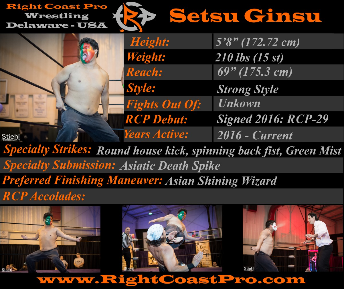 Setsu Ginsu profile RightCoast Pro Wrestling Delaware